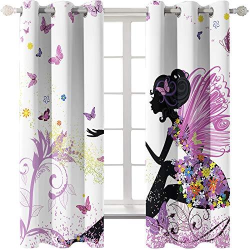 Las Cortinas Rosa Dream Girl Son Adecuadas para Dormitorios De Niños Salones De Bodas Jardines Método De Instalación De Cortinas Súper Sombreadas Perforadas 54 Piezas De Mariposa Blanca