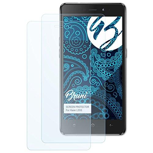 Bruni Schutzfolie kompatibel mit Haier L55S Folie, glasklare Bildschirmschutzfolie (2X)