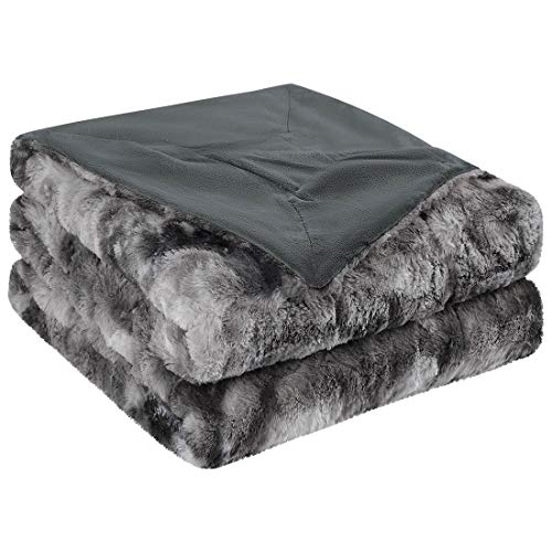 PiccoCasa Soft Faux Fur Blanket Twin Size - Reversible Tie-dye Luxury Shaggy Throw Blanket for Sofa, Couch and Bed - Plush Fluffy Fleece Blankets as Gifts 60 x 80 Inch Dark Gray
