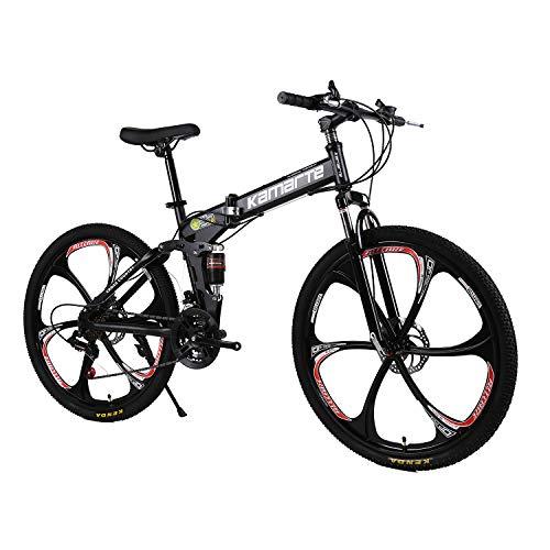"XCBY Plegable Ciudad Bicicleta 26"", 21/24/27 Speed Velocidades Plegable Bicicleta Folding Bike Bicicleta De MontañA Shimano Adultos Unisex Black-21speed"