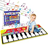 "Tencoz Kids Musical Mat, Early Educational Toys 10 Keys Piano Keyboard Playmat, Electronic Dance Floor Mats with Record, Playback, Demo, Play for Boys Girls, 58.26"" x 23.62"""