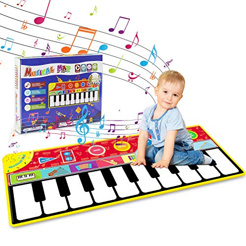 """Tencoz Kids Musical Mat, Early Educational Toys 10 Keys Piano Keyboard Playmat, Electronic Dance Floor Mats with Record, Playback, Demo, Play for Boys Girls, 58.26"""" x 23.62"""""""