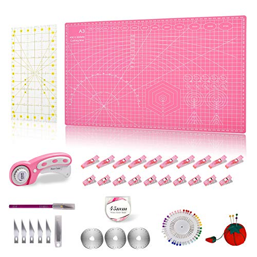 """Rdutuok 45mm Rotary Cutter Set Quilting Kit, 3 Replacement Blades, A3 Cutting Mat(18X12""""), Acrylic Ruler,Sewing Pins,Cushion,Craft Knife Set and Craft Clips - Ideal for Sewing,Crafting,Patchworking"""