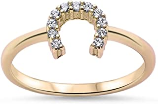 Yellow Gold Plated Cubic Zirconia Horse Shoe .925 Sterling Silver Ring Sizes 3-12