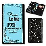 Strass Book Style Flip Handy Tasche Case Schutz Hülle Foto Schale Motiv Etui für Medion Life X5004 - Flip SU5 Design11