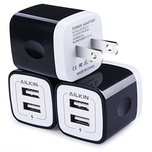 USB Wall Charger, Charger Adapter, Ailkin 3-Pack 2.1Amp Dual Port Quick Charger Plug Cube Replacement for Phone X/7/6S/6S Plus/6 Plus/6/5S, Samsung Galaxy S7/S6/S5 Edge, LG, HTC, Huawei, Moto, Kindle