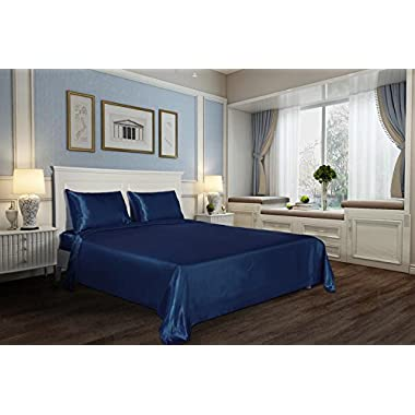 DreamHome Super Soft Deep Pocket 4-Piece Satin Sheet Set (King Size, Blue)