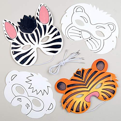 Baker Ross Tiermasken zum Ausmalen (8 Stück) Bastelspaß für Kleine Tiger und Äffchen