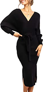 Women's Long Maxi Sweater Dresses Sexy Wrap Batwing V Neck Slit Open Back Holiday Bodycon Dress with Belt
