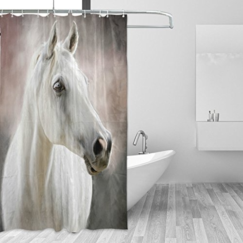 JSTEL Duschvorhang mit weißem Pferd, schimmelresistent & wasserdicht, Polyester, 183,9 x 183,9 cm, für Zuhause, extra lang, dekorativ, mit 12 Haken