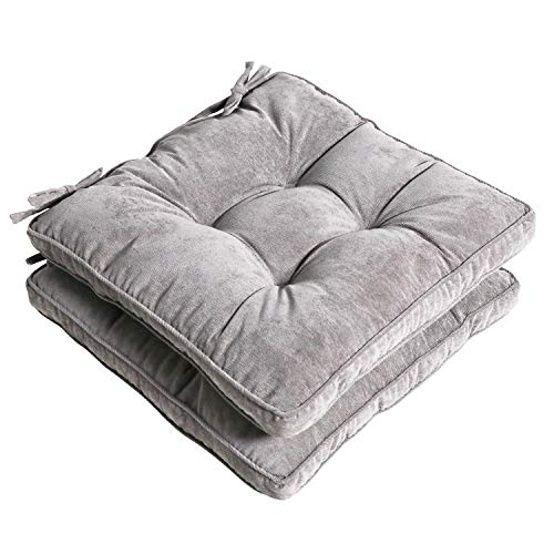 Tiita Square Chair Pads with Ties Tufted Seat Cushion Thick Outdoor/Indoor Floor Pillow, 18 Inch Set of 2, Grey