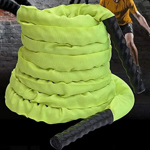 BAIRU Cuerdas Heavier Rope Cuerda de Ejercicios   Cuerda de Entrenamiento físico Todo Incluido   Adecuado para el Gimnasio Home Gym Outdoor Cardio Enterrout, Negro (Color : Green, Size : 9M-38MM)