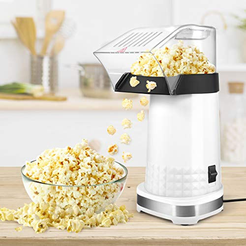 JulyPanny Hot Air Popper Popcorn Maker,1200W Electric Popcorn Maker,BPA-Free, 3 Minutes Fast Popcorn Popper with Measuring Cup and Top Lid for Home, Family(White)