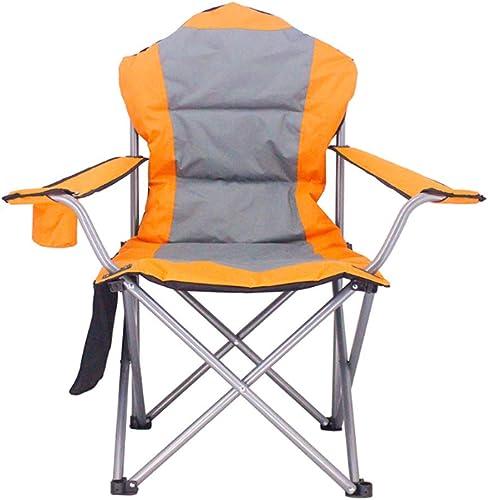 HCFSUK Chaise de Camping Pliante en Plein Air de Plage épaisse avec Accoudoirs, Porte-Gobelet et Coton