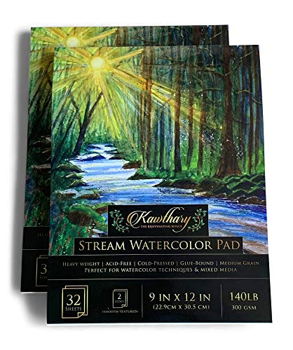 Watercolor Paper Pads Set of 2 - Heavy Weight 140lb - 9x12' Sheets -  Acid Free, Mixed Media Art, Cold Pressed Textured White Sheets - for Painting & Drawing - Loved by Students & Artists