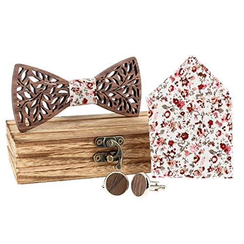 cravateSlim Coffret Bois Noeud Papillon, Mouchoir de Poche et Boutons de Manchette - Motif Liberty Vieux rose - Noeud Papillon Fleuri Homme Mariage ou Cadeau