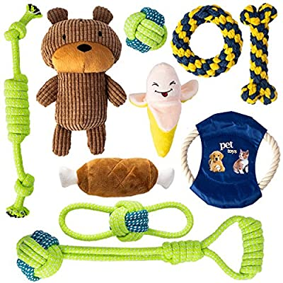 Dog Rope Toy Squeak Toys Barley Ears 10Pcs Nature Cotton Chew Puppy Toys for Teething Grinding Interacting, Dog Chew Toy Set for Small Medium Dogs, 7pcs Chew Rope Toy and 3pcs Squeak Toys