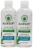 AloeSoft Hand Sanitizer I 8oz Bottle I Pack of 2 I Made in USA I 70% Alcohol I 15% High Content Organic Aloe Vera Moisturizing Gel for Soft Hands with Vitamin E