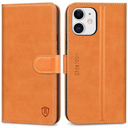 SHIELDON Cover iPhone 12, Custodia iPhone 12 PRO Vera Pelle Portafoglio Slot per Schede [RFID Blocking] Antiurto [Funzione Stand] Cover Libro per iPhone 12/12 PRO (6,1 Pollici, 2020) - Marrone