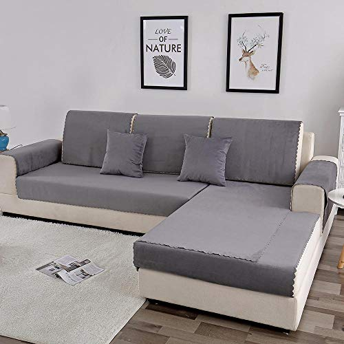 Suuki settee slip covers,sofa cover,couch saver,Velvet waterproof sofa saver protector,pet kids urine-proof couch covers cushions,cat dog bite-proof Slip Cover,non-slip sofa towels-grey_90*180cm
