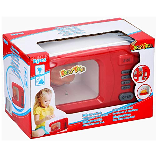 Eddy Toys Eletrische Kindermikrowelle, Mikrowelle mit Licht u. Ton Kinderküche Haushalt