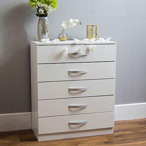 Amazon Marke - Movian Hulio Hochglanz Kommode, Weiß, 90 x 75 x 36 cm