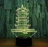 Zhoudd 3D lampe Pavillon bauen Spielzeug Nachtlicht 7 Farbwechsel Touch Switch Acryl Flat USB Spielzeug Lampen perfekte Weihnachts geschenk