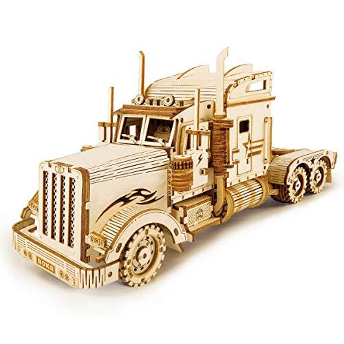 ROKR 3D Puzzle Express Holzpuzzle Modellbau - Lastwagen Holzbausatz - Weihnachten Geburtstagsgeschenk für Jugendliche und Erwachsene (Heavy Truck)