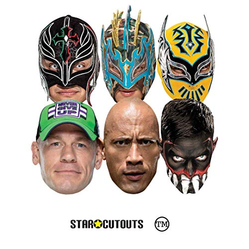 Star Cutouts Ltd SMP421 WWE Multipack Wrestler Masken beinhaltet Sin Cara Kalisto Rey Mysterio Finn Balor John Cena The Rock