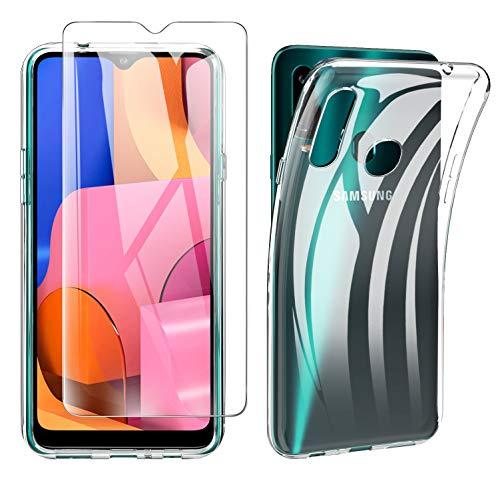 iBetter per Samsung Galaxy A20s Cover + Pellicola Protettiva in Vetro Temperato [1 Pack] Soft Silicone per Samsung Galaxy A20s Custodia, per Samsung Galaxy A20s Smartphone.Trasparente