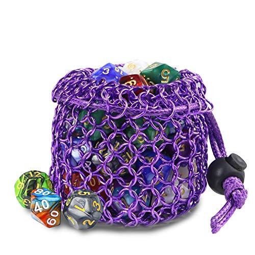 YOUSHARES Drawstring Game Dice Bag - Kettenhemd aus Edelstahl DND Würfelbeutel für Polyedrisches D & D-Würfelset aus Metall, Münze (Lila)