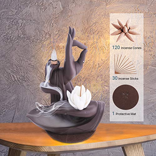 wavveUziz Incense Waterfall Burner Backflow Incense Holder, Cone Incense Burner Incense Holders for Sticks with 120 Incense Cones and 30 Incense Sticks, Ceramic, Lotus