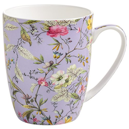 Maxwell & Williams Kilburn Becher Winter Bloom, Geschenkbox, Porzellan, WK11400 Vaso, Porcelana, Lila, Bunt, 11.5 x 8.5 x 10.5 cm