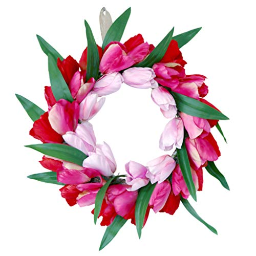 Amosfun Tulpentür Kranz Künstliche Blume Tulpe Blumenzweig Haustür Wand Fenster Kranz Girlande für Party Hochzeit Wohnkultur