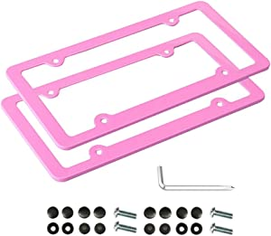 XLSFPY Pink License Plate Frame, 2 PCS License Plate Holder, Universal American Auto License Plate Frame Rust-Proof, Rattle-Proof, Weather-Proof
