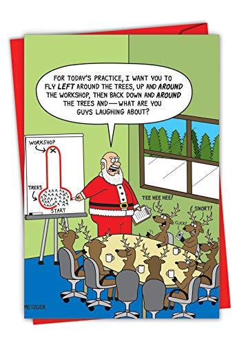 Reindeer Around the Tree - Men's Humor Merry Christmas Note Card with Envelope (4.63 x 6.75 Inch) - Santa and Reindeer Games, Xmas Greeting Card for Men, Brother - Cartoon Happy Holidays 1627