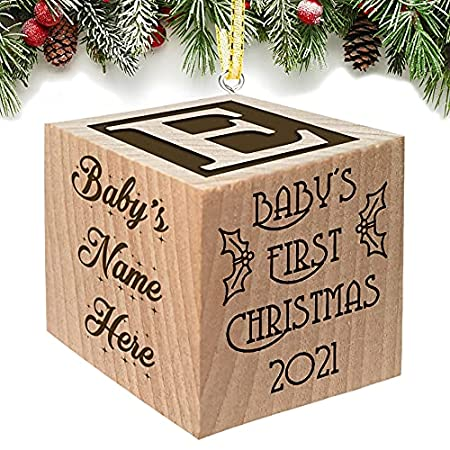 Wooden Block Baby Christmas Ornament