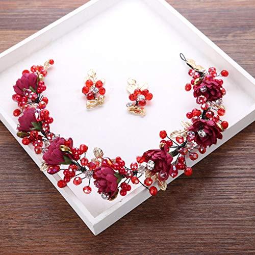 HETUI FD459 Diadema Elegante Banda para el Cabello Tiara Nupcial Accesorios para el Cabello Banda para el Cabello Rojo Vino