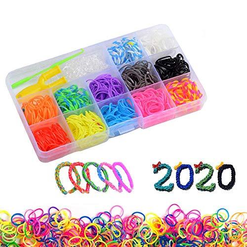 WELLXUNK 600 Stück Loom Bänder,Loombänder für armbänder DIY Gummibänder Loom Bänder Set Aufbewahrungsbox,Armband Halskette Strickwerkzeug Kinderspielzeug