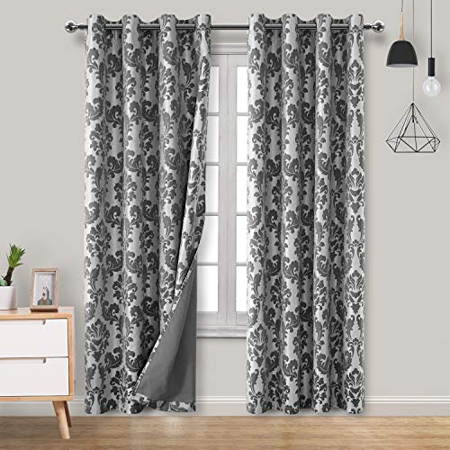 Hiasan Damask 100% Blackout Curtains for Bedroom - Grommet Noise Reducing & Thermal Insulated Floral Jacquard Window Curtains for Living Room, 52 x 84 Inches Long, Black, 2 Drape Panels
