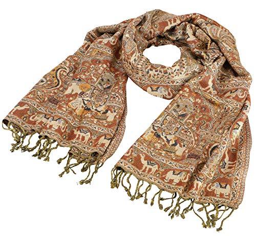 GURU SHOP Indischer Pashmina Schal, Schultertuch, Stola mit Paislay Muster, Herren/Damen, Braun, Synthetisch, Size:One Size, 200x70 cm, Schals Alternative Bekleidung