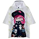 Splatoon Camisetas Camiseta Estampada de Dibujos Animados Camiseta con Capucha Casual Manga Corta Loose Tops Unisex Unisex Splatoon Mujer Hombre Tshirt (Color : A02, Size : L)