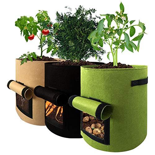 Yuccer 3 PCS Sacs de Plantation de Jardin Tissu Non-tissé 10 Gallons Sacs de Culture pour Pommes de Terre pour Patios Jardins Balcons Sun Room Cour (10 Gallons, Noir + Vert + Marron)