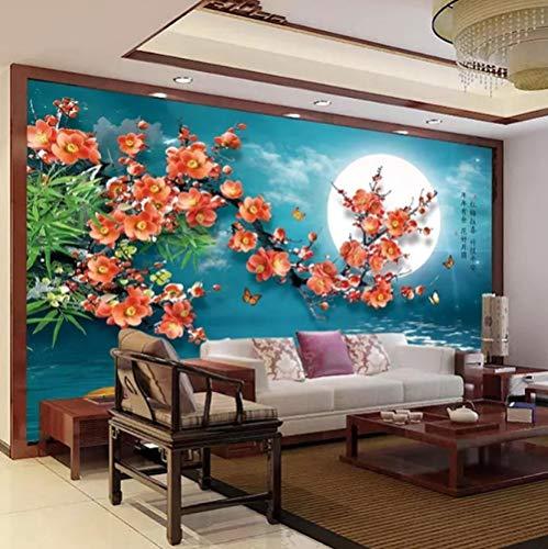 Küche Haushalt Wohnen Chinesische Art Red Plum Flower Moon 3D Wohnzimmer Tv Hintergrund Wandbild -350 * 245Cm