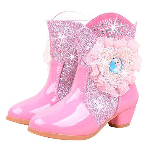 YONIER Stivali da Neve Elsa Tacco Alto Ragazze Stivali da Bambina Scarpe Stivaletti Invernali con Imbottitura Calda Principessa