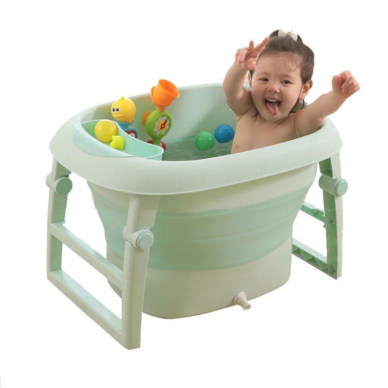 致暖Warmest 折叠婴儿洗澡盆 儿童浴桶加大号 可坐躺沐浴盆 新生儿宝宝通用泡澡桶 0-10岁 (绿色) 买即赠玩具配件7件套(详见详情页)