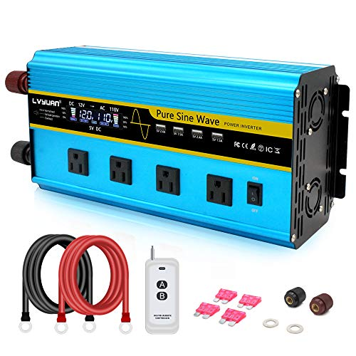 LVYUAN Pure Sine Wave Inverter 3000 Watt Inverter 12V to 110V DC to AC with Remote Controller, LCD Display 4 AC Sockets and 4 USB Charge Ports for Car Truck Solar System (3000W with Remote Controller)