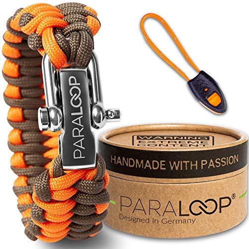 PARALOOP oryginalna bransoletka z linki paracord, dla mężczyzn + wisiorek z gwizdkiem sygnałowym, pleciona ręcznie, z pudełkiem na prezent, zapięcie ze stali nierdzewnej, bransoletki męskie, pomarańczowe, brązowe