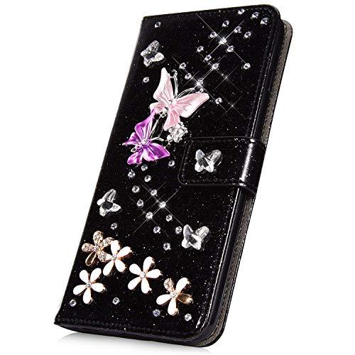 Surakey - Carcasa para iPhone 8 Plus/7 Plus (piel sintética, con tapa, tarjetero, función atril, función atril), color negro