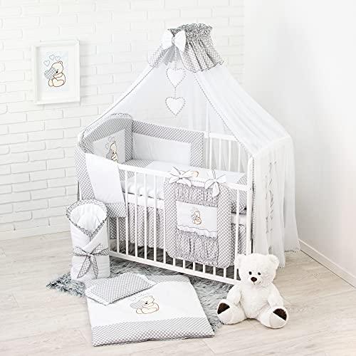 Conjunto de ropa de cama para cuna de bebé, 100% algodón, conjunto completo XXL de 18piezas, diseño bordado de osito, incluye mosquitera gris gris Talla:120x60cm